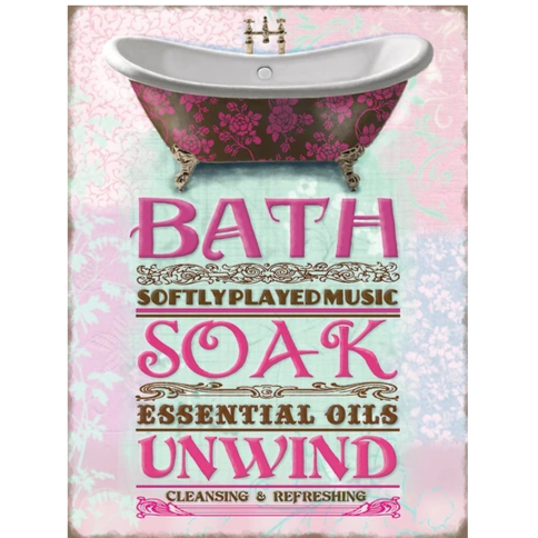 Vintage style sign 'Bath soak'