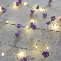 Rose & pearl fairy lights - lilac
