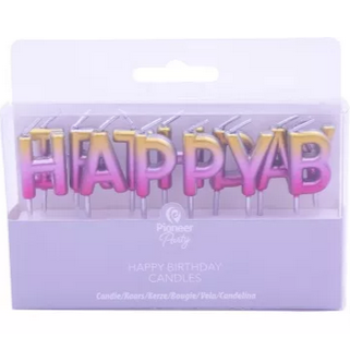 Rose gold ombre 'Happy Birthday' candles - Hunnypot House