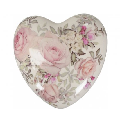 Ceramic heart decoration - delicate floral - Hunnypot House