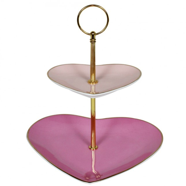 Heart shaped china cake stand