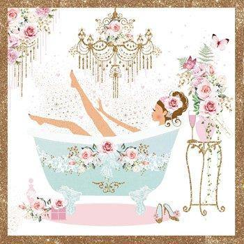 Greetings card - Floral bath - birthday - Hunnypot House