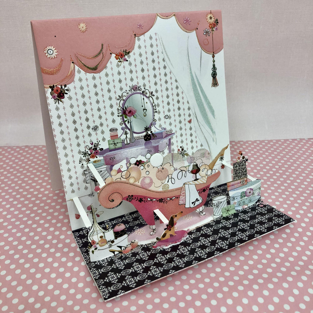 3D Greetings card - Bathroom - blank - Hunnypot House