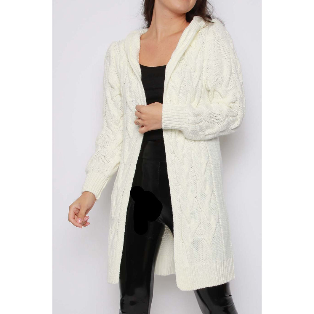 Snuggle open hooded cardigan - ivory