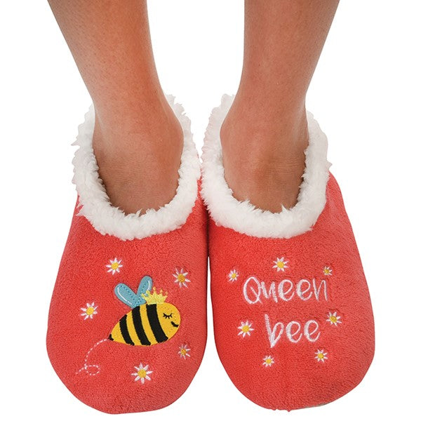 'Queen Bee' embroidered slippers