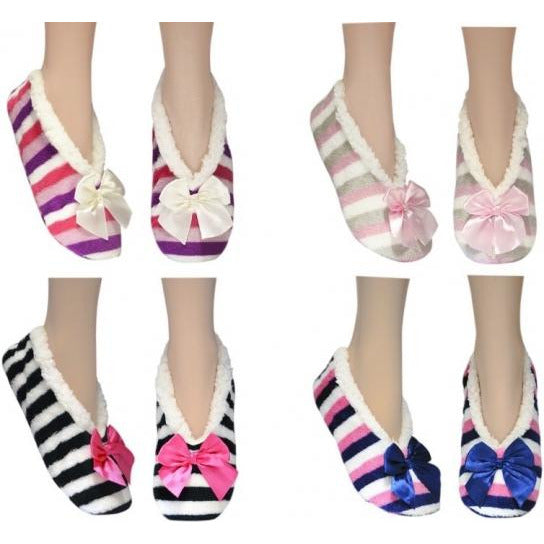 Slippers - stripy bow