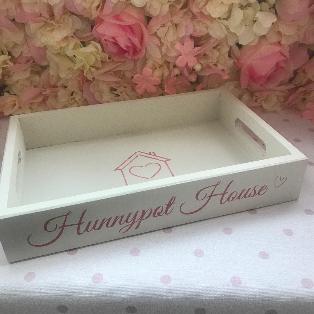 'Hunnypot House' wooden tray - cream - pre-order for dispatch from 8th December