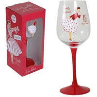Vintage lady wine glass - 18th Birthday - PDP Vintage and Fashion