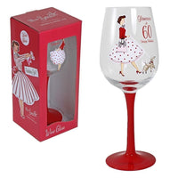 Vintage lady wine glass - 60th Birthday - PDP Vintage and Fashion
