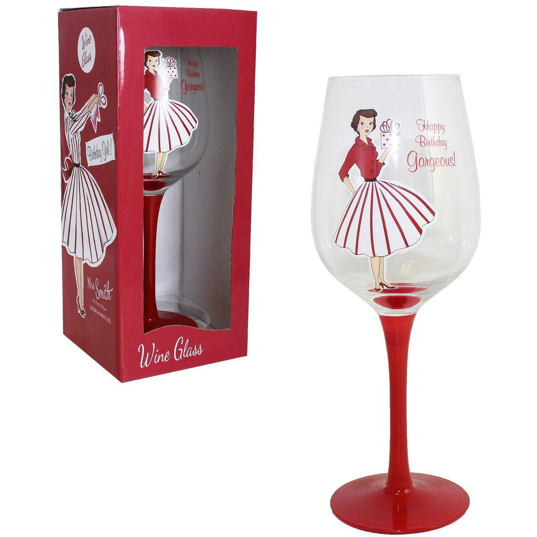 Vintage lady wine glass - Happy Birthday - PDP Vintage and Fashion