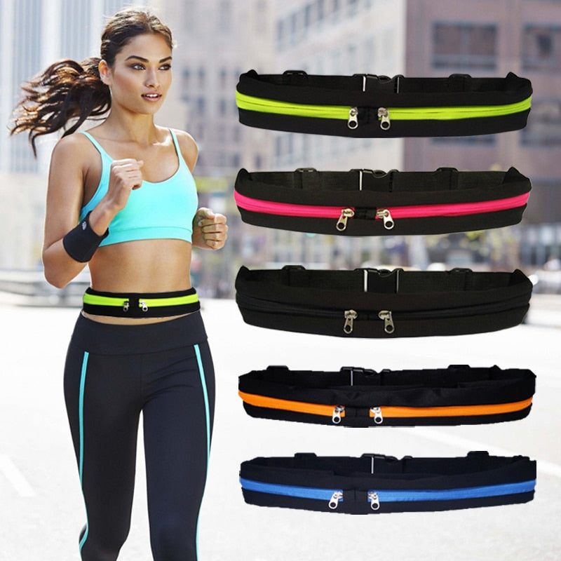 Dual Pocket Running Belt Bag Pack Waist Pouch For Phone Key Workout Cycling Yoga