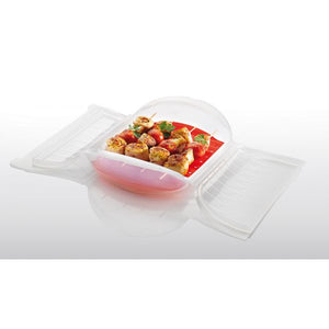 Lékué Steam Case With Tray With 10 Minute Cookbook Color:Clear