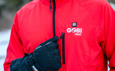 Gobi Heat jacket being zipped up