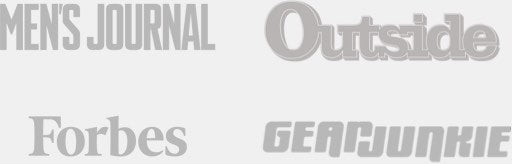 Logos for Men's Journal, Forbes, Gear Junkie and Outsize Magazine and