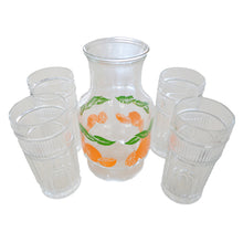 Anchor Hocking Oranges Carafe & 4 Drinking Glasses