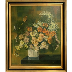 Antique French Floral Painting Framed
