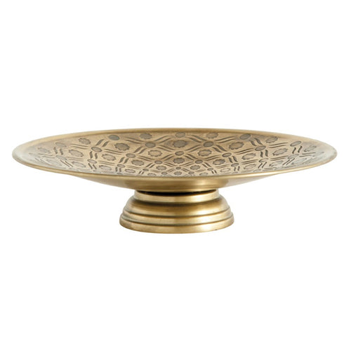 Metal Footed Debossed Pedestal - Antique Gold Finish