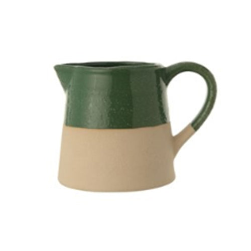 Stoneware Pitcher Green Glaze and Matte Finish