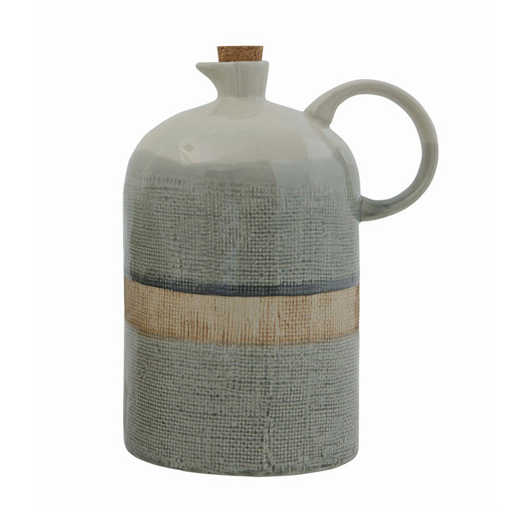 Reactive Glazed Jug with Cork Stopper Large