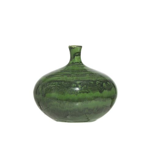Stoneware Vase Green Malachite Glaze - Small