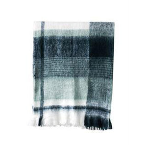 Plaid and Fringe Throw Blanket