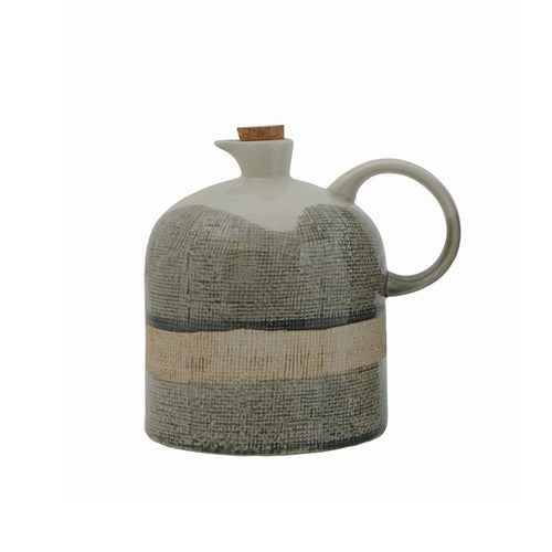 Reactive Glazed Ceramic Jug with Cork Stopper Medium