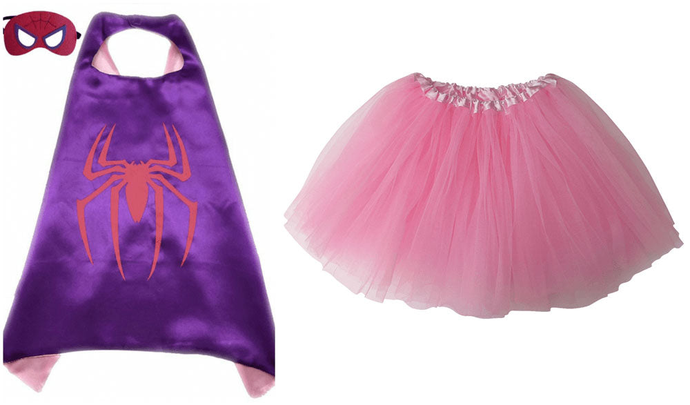spider girl tutu costume with cape and mask