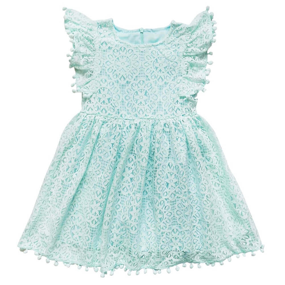Girls Mint Lace Pom Pom Dress