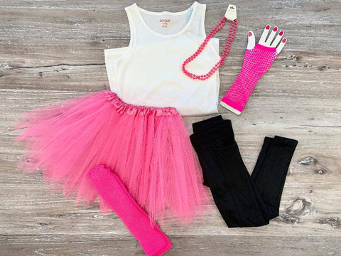 Bright pink tutu, legwarmers, necklace, leggings, and tank top.