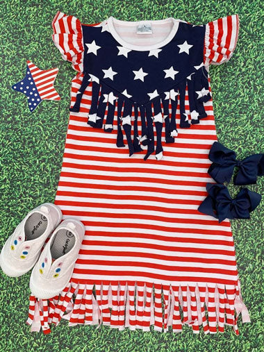 A fringed stars-and-stripes dress for young girls