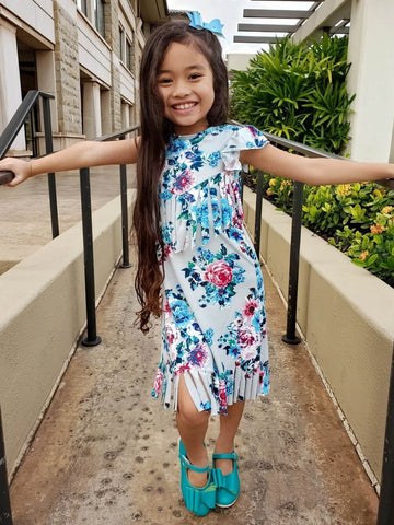 Floral Fringe Dress for Girls
