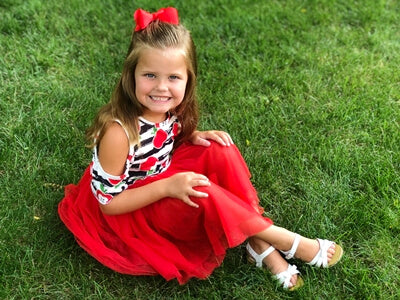 little girl in back to school apple chiffon tutu skirt outfit