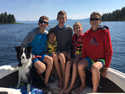 Boat with Kids & Dog