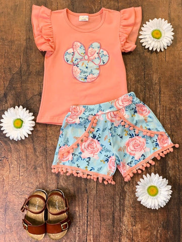 Minnie Coral Floral Outfit Girl's