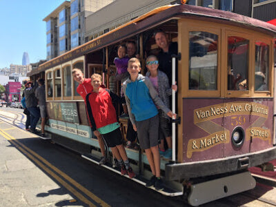 Family on San Francisco Trolley Car
