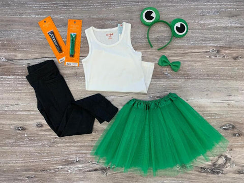 White tank top, green tutu, frog eye headband and accessories.