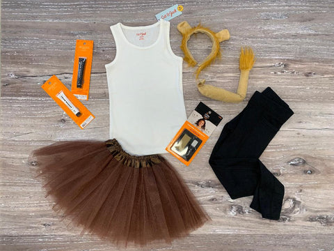 Brown tutu, ears and tail lion costume set.