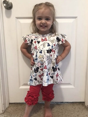 little girl in ruffle red leggings minnie mouse outfit