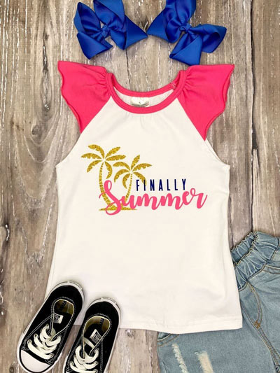"A little girl's summer outfit with a T-shirt that reads ""finally summer"""