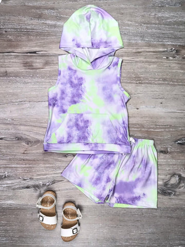 Tie dye girls two piece set