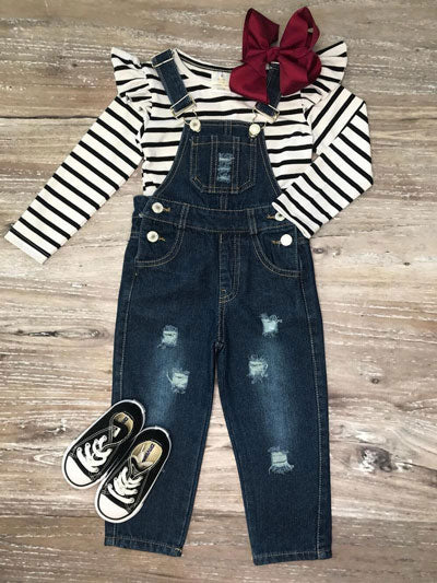 overalls with a striped shirt
