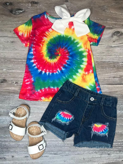 rainbow tie-dye outfit