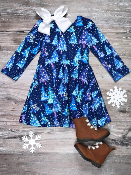 blue dress with Christmas trees