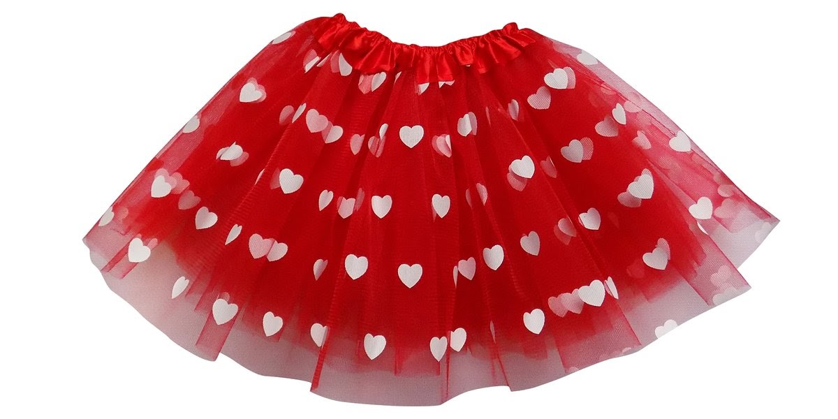 a red tutu printed with hearts