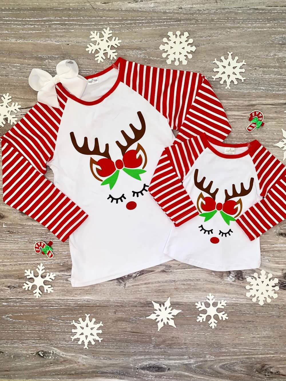 matching mother and daughter reindeer shirts