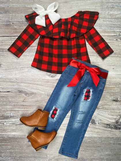 two-piece buffalo plaid outfit