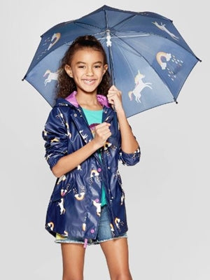 Toddler Girls Unicorn Raincoat and Umbrella