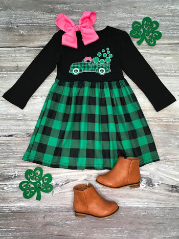 a green buffalo plaid dress for girls