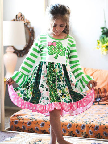 a shamrock-printed full skirted dress
