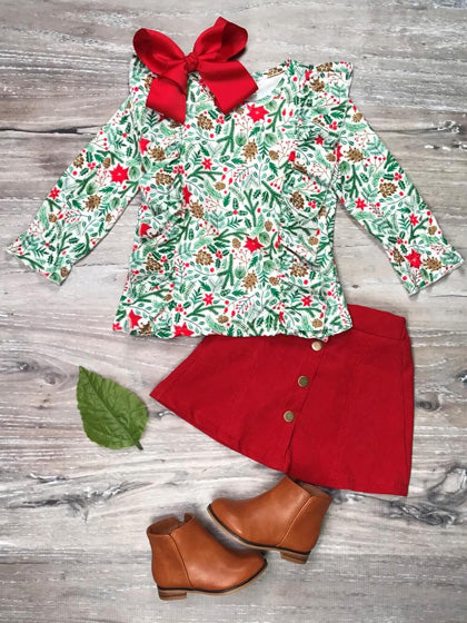 poinsettia top and matching skirt